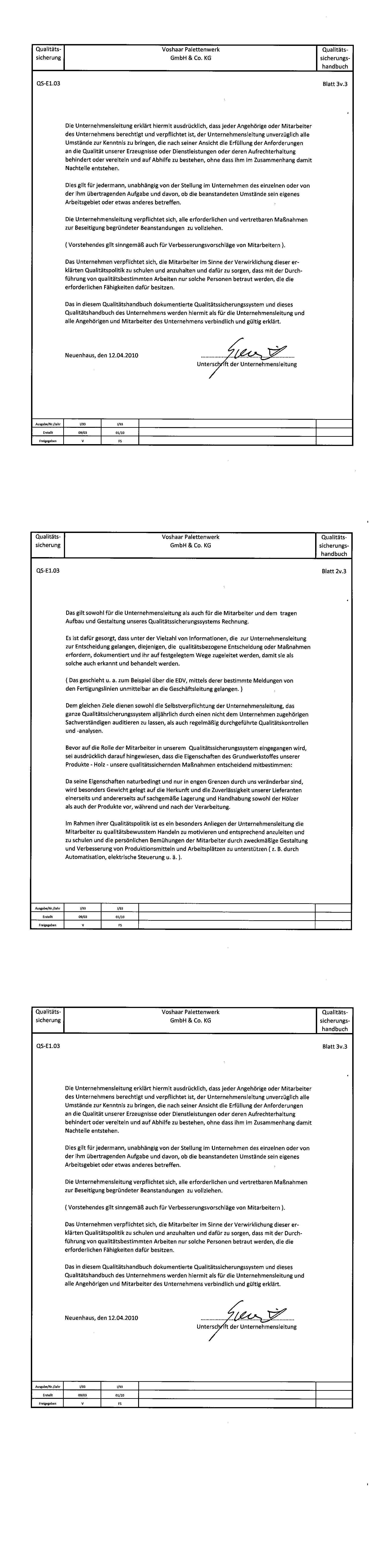 erklrungen der geschftsleitung zur qualittspolitik - Qualitatspolitik Beispiel